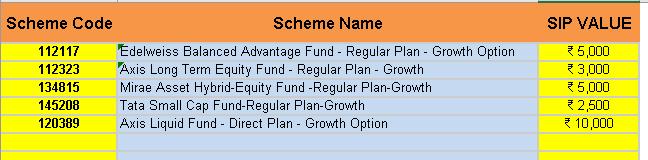 Mutual Fund Portfolio Tracker Excel settings
